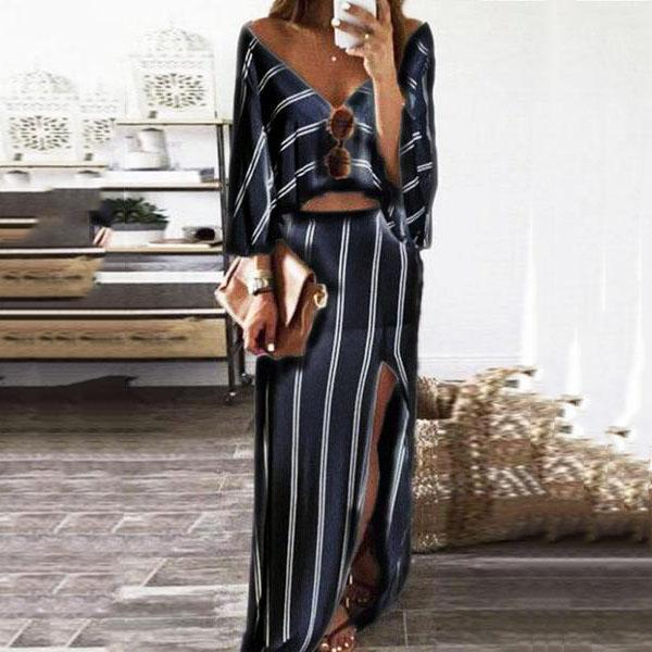 V Neck  Slit  Striped  Three Quarter Sleeve Maxi Dresses