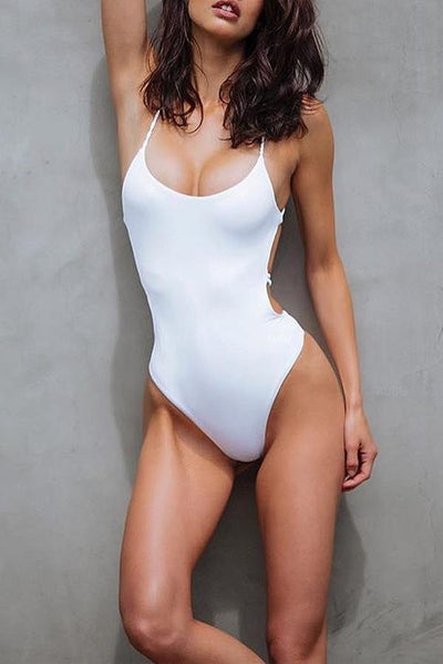 Halter  Cross Straps  Plain One Piece