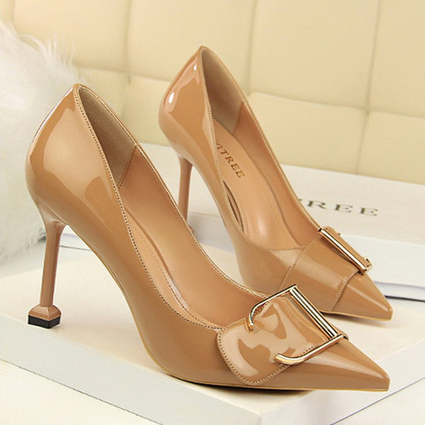 Fashion Pure Color Slim Heel Shoes