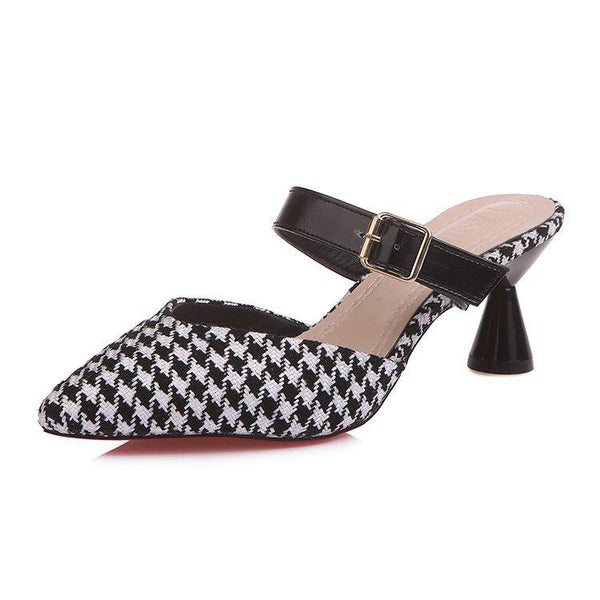 Elegant Houndstooth Pointed Toe Muller Shoes