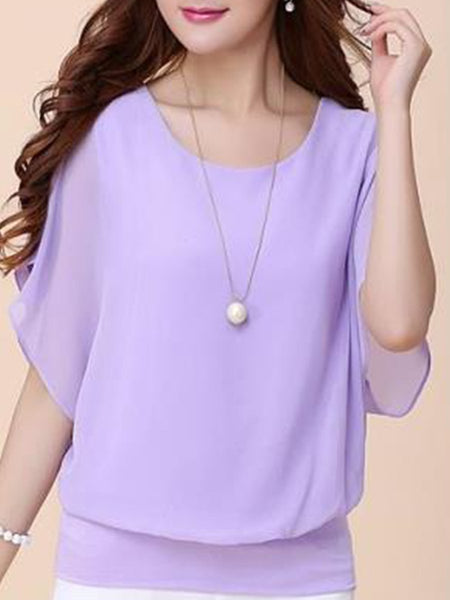 Women  Round Neck  Plain  Short Sleeve Blouses