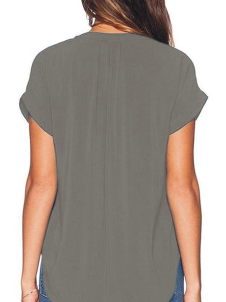 Summer V Neck  Plain Blouses