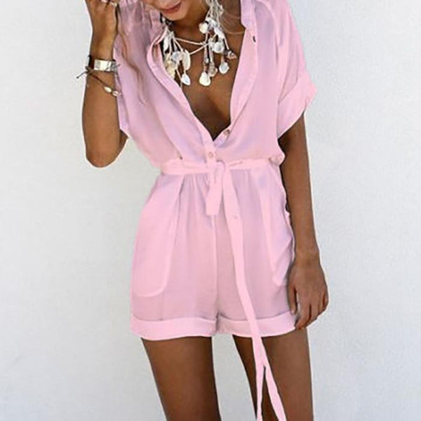Casual V Collar Pure Color Playsuit