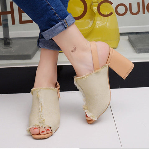 Demin Cloth Head Leaky Toe Rough High Heel Shoes