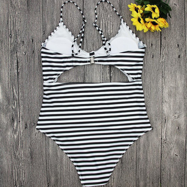 Sexy Stripe One-Piece Swimwear