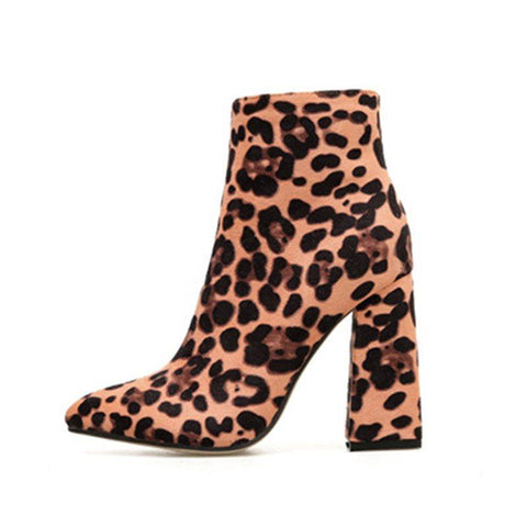 Chunky Heel Side Zipper Leopard Pointed Toe Western PU Boots