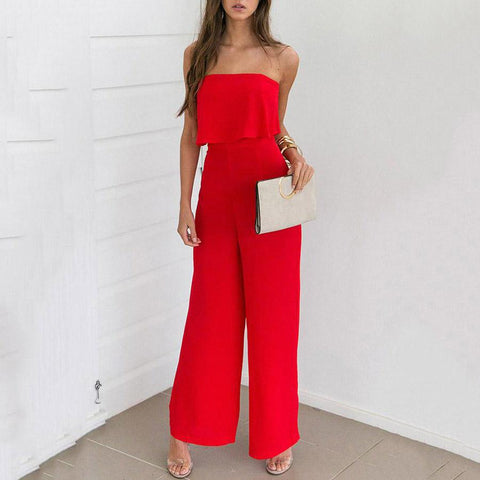 Red Fashion Strapless Sleeveless Jumpsuit