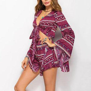Fashion Floral Printed Casual Vacation Jumpsuit