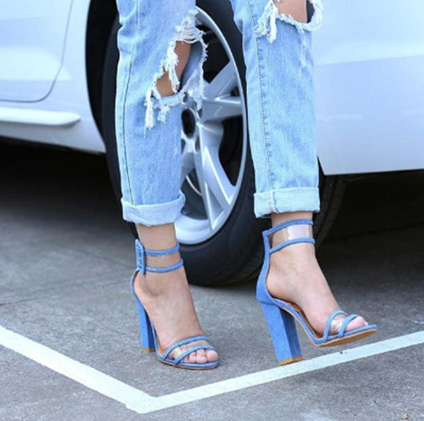 Fashion Pure Color Thick Heels Buckle Sandals