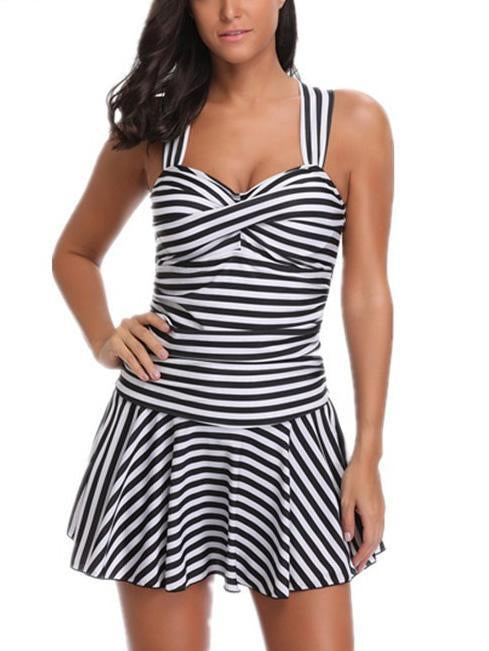 Striped One Piece Swimwear