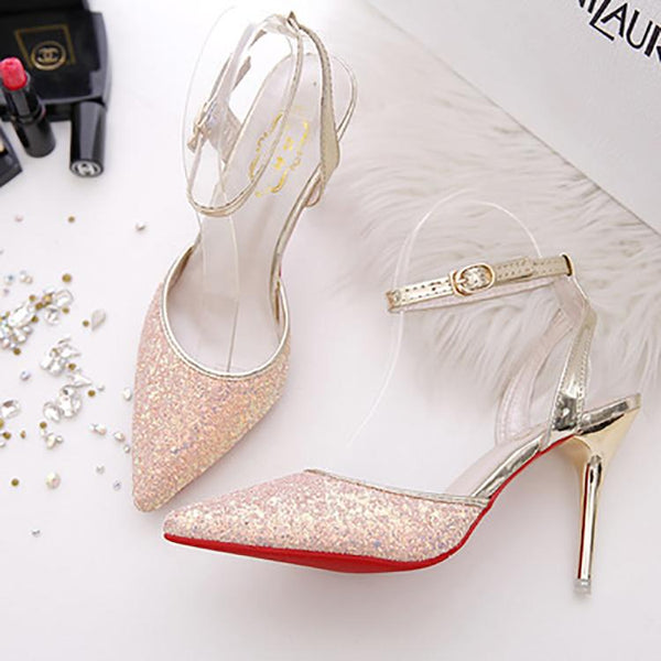 Fashion Sequins Pointed Slim High Heel Shoes