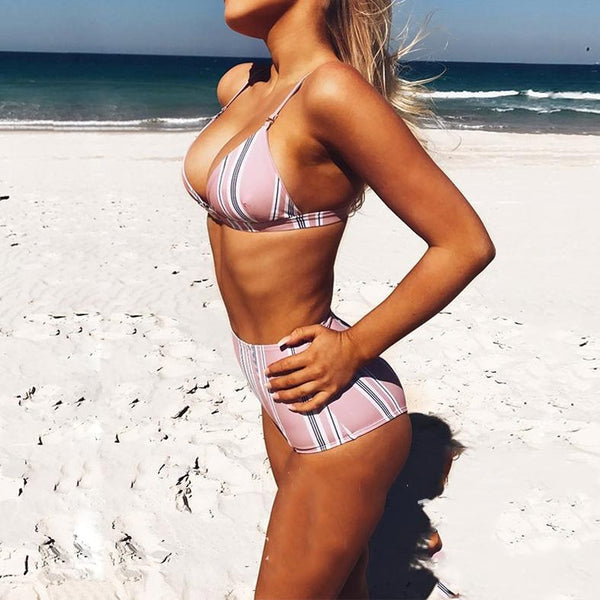 Striped Print High Waist Bikini Swimwear