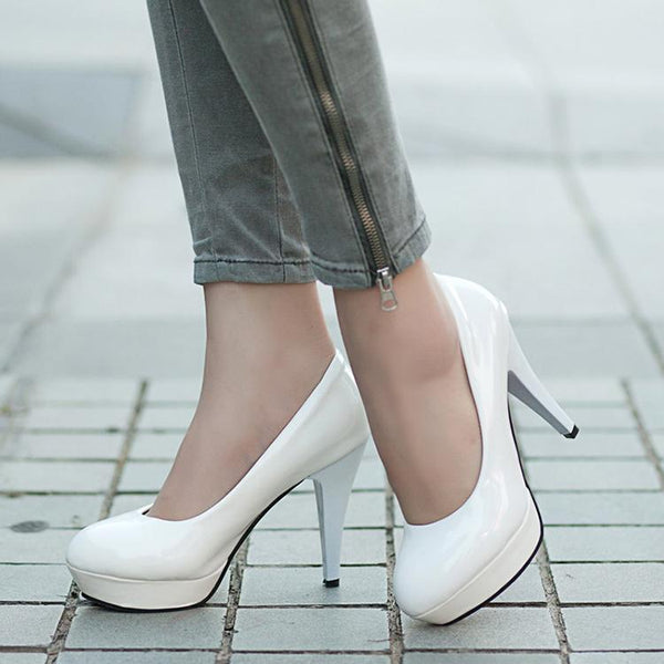 Elegant Pure Color Round Round High Heel Shoes