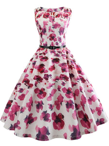 Round Neck Belt Allover Floral Printed Skater Dress