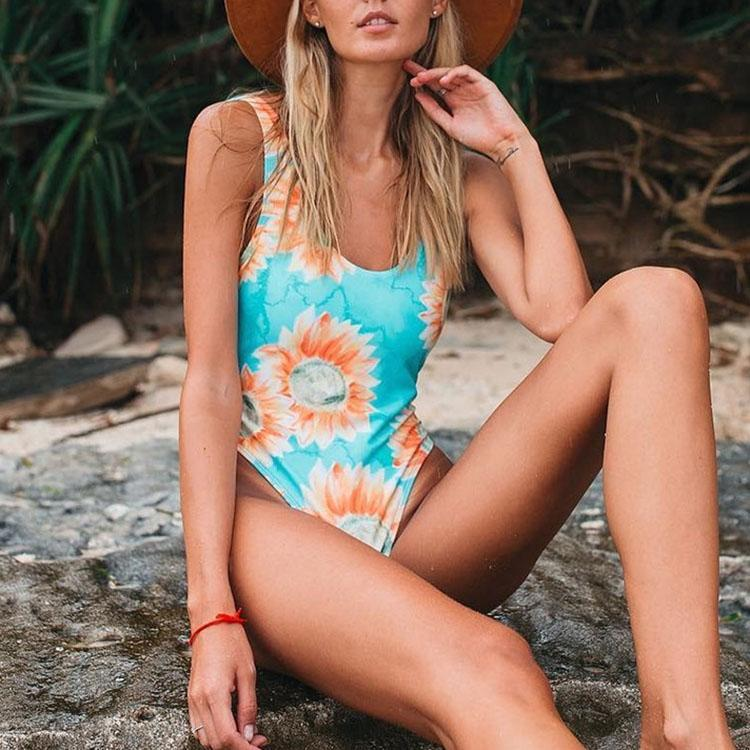 Sexy Backless Digital Printing One-Piece Bikini