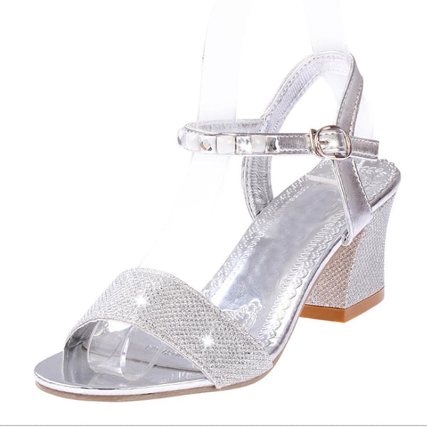 Plain  Chunky  Mid Heeled  Ankle Strap  Peep Toe  Date Office Sandals