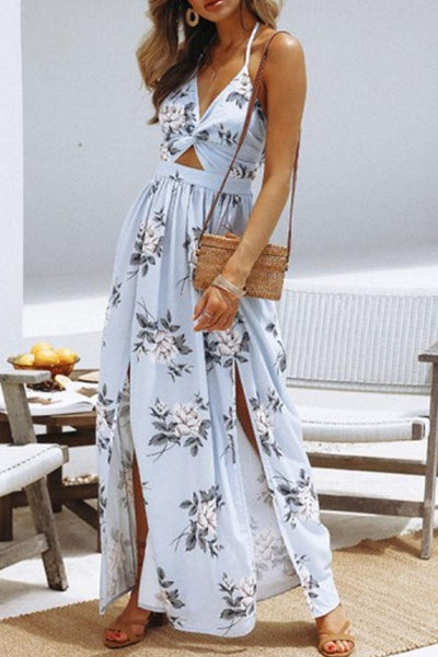 Halter  Backless High Slit  Floral Printed  Sleeveless Maxi Dresses