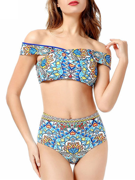 Abstract Print  High-Rise Bikini For Women