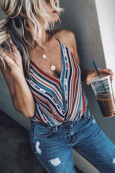 Spaghetti Strap  Striped Camis