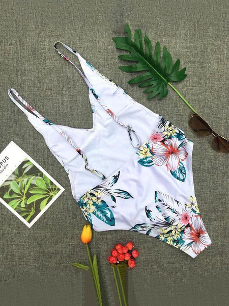 Sexy Floral Print One-Piece Swimsuit