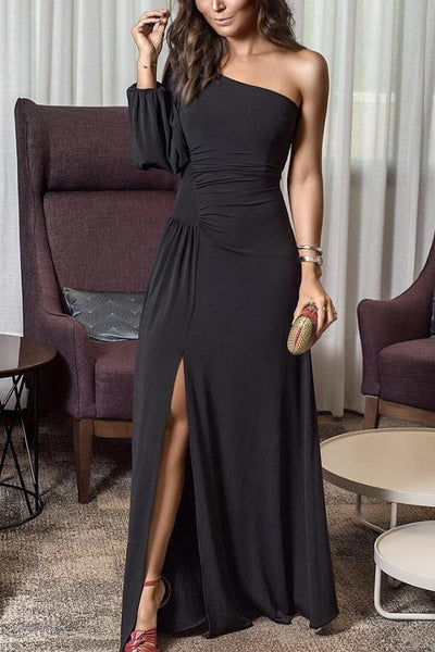 Sexy Fashion One Shoulder Slit Maxi Dress