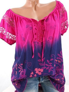 Women Collar See-Through Floral Printed Short Sleeve Blouses