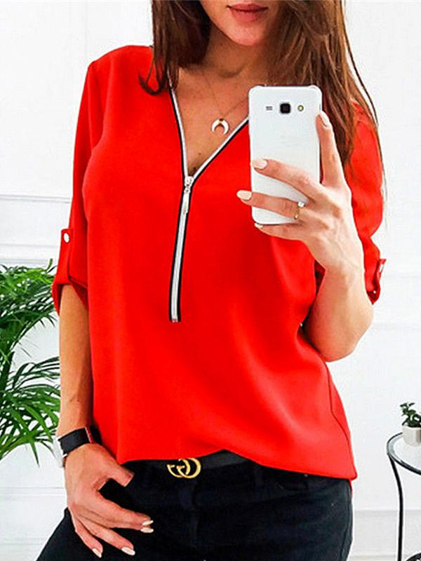 V Neck  Chain  Patchwork Plain Blouses