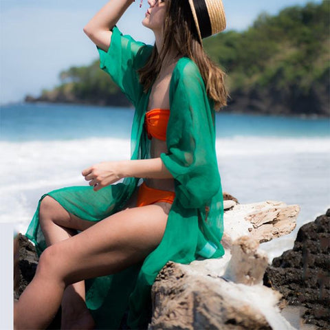 Casual Loose Pure Color Half Sleeve Chiffon Beachwear