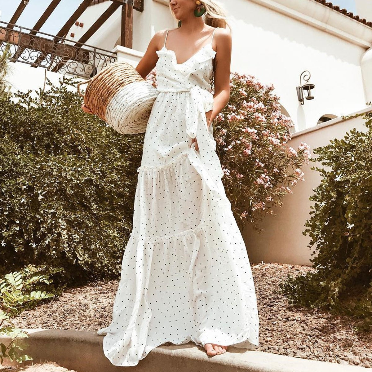 White Sexy Sleeveless Vacation Maxi Dress