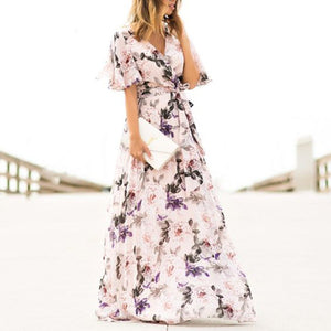 Sexy Short Sleeves Floral Print Vacation Maxi Dress