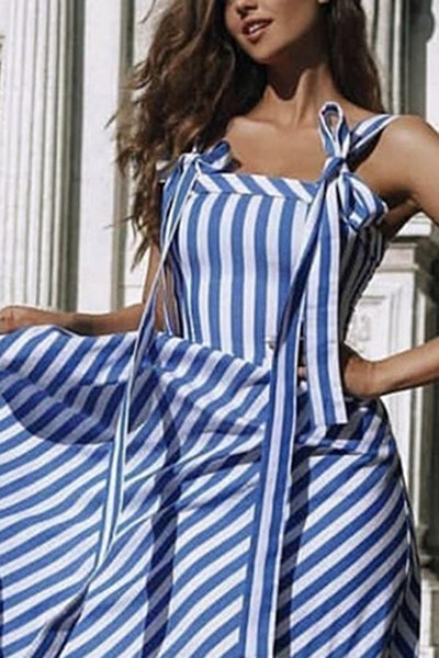 Stylish Blue Stripe Sleeveless Maxi Dress