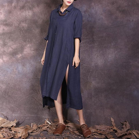 Button Down Collar Oversize Shirt Casual Dress