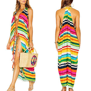 Sexy Colorful Stripes Cardigan Sleeveless Beachwear