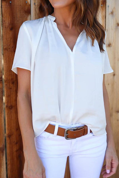 V Neck  Plain Casual  Blouses