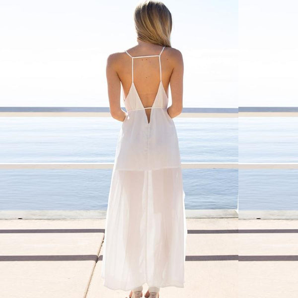 Spaghetti Strap Backless Plain Sexy Maxi Dresses