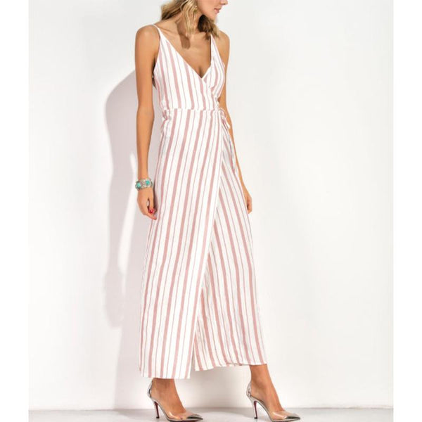 V Neck Spaghetti Strap Striped Maxi Dresses