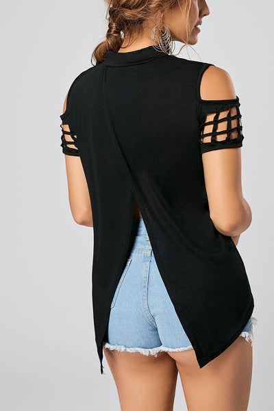 Fashion High Neck  Hollow Out Off Shoulder Slit Blouse