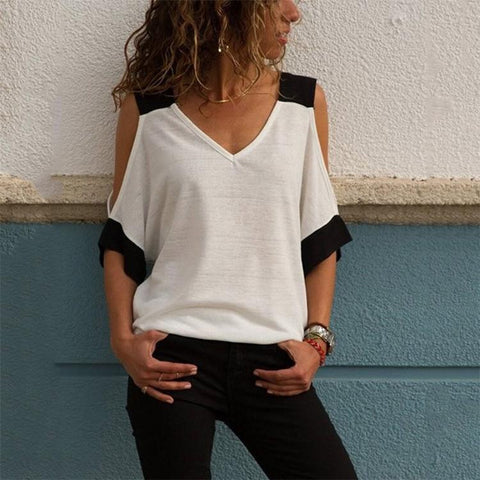 Sexy V Collar Bare Shoulder Short Sleeve Shirt