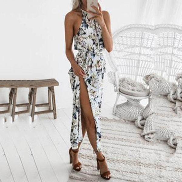 Halter Belt  Printed  spliting Maxi Dress