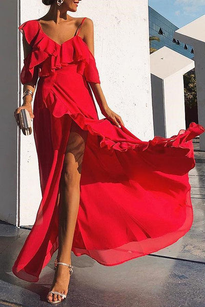 Sexy Off Shoulder Short Sleeves Maxi Dress