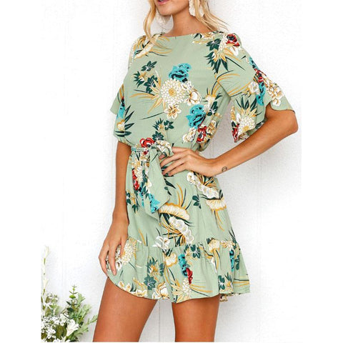 Flare Sleeve Ruffle Floral Printed Belt Skater Dress