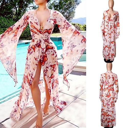 Fashion Bare Back Light Long Sleeves Maxi Dresses