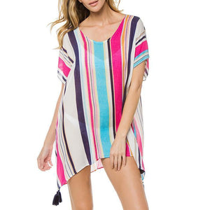 Striped Bikini Blouse Seaside Sun Protection Shirt Beach Clothing