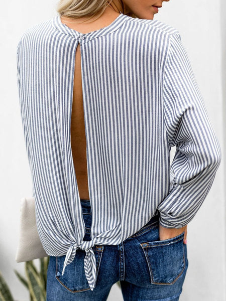 Round Neck  Hollow Out  Striped  Long Sleeves Blouses