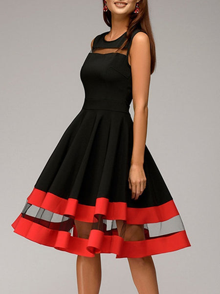 EBUYCHIC Round Neck Patchwork Color Block Sleeveless Skater Dress
