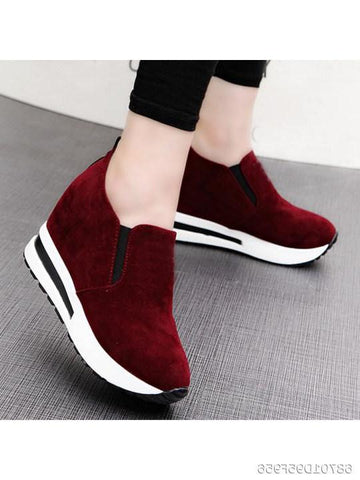 Plain Mid Heeled Velvet Round Toe Casual Sport Sneakers