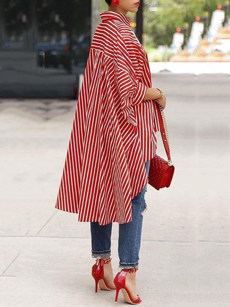 Striped Printed Casual Long Blouses