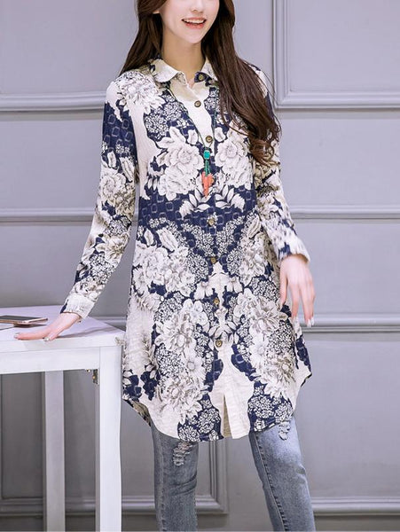 Fashion Linen Cotton Printed Colour Long Shirt