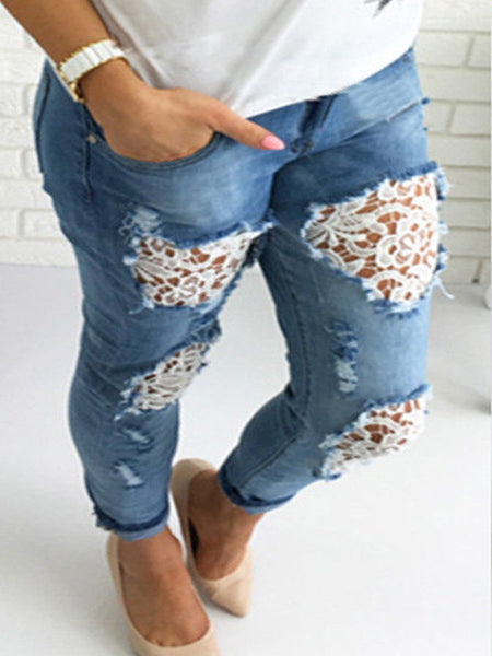 Decorative Lace Ripped Lace Light Wash Pants