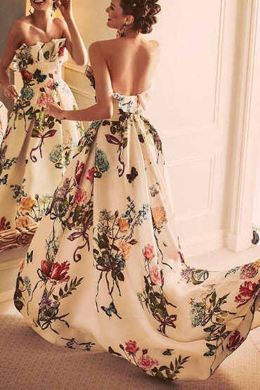Sexy Off Shoulder Floral Printed Belt Maxi Dress